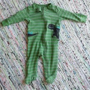 Green Dinosaur Footed Pajamas